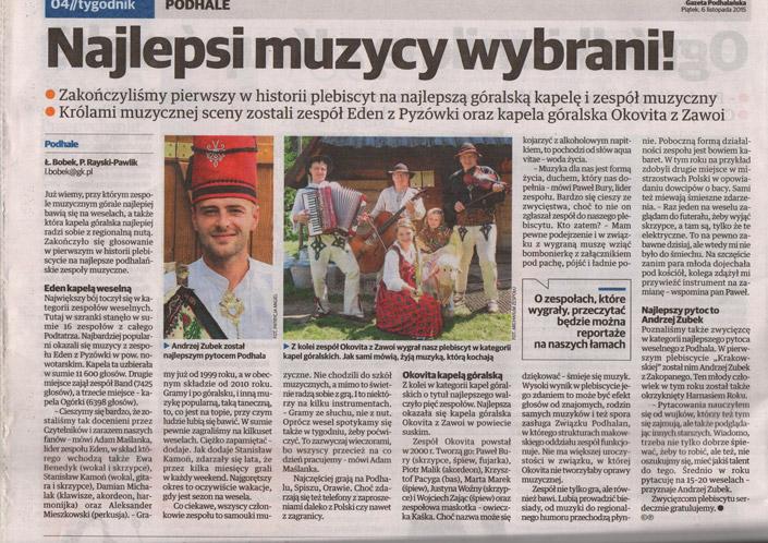 najlepszy zespół weselny w małopolsce, skan gazety